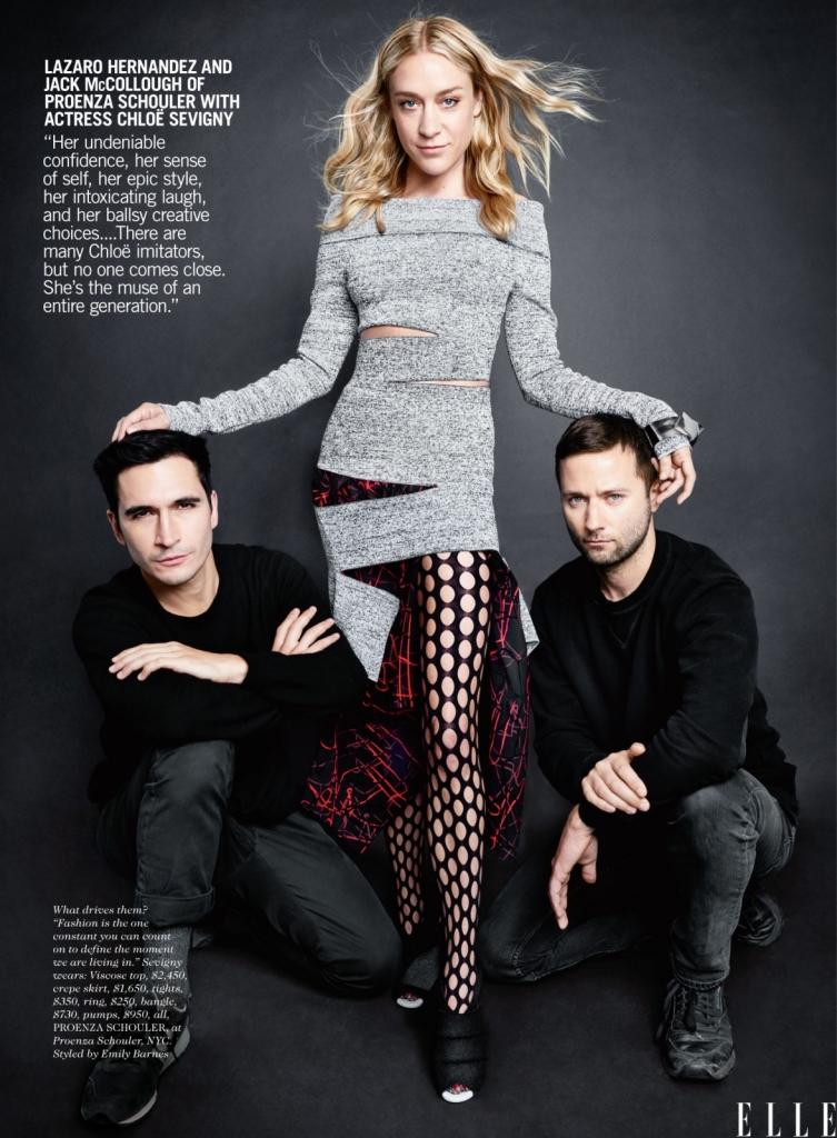 """Лазаро Хернандез и Џек Меколоу од Проенца Скулер со актерката Клое Севињи -Нејзината непоколеблива самодоверба, нејзината самосвесност, стил, нејзиното """"заразно"""" смеење, нејзините креативни избори... се дел од нештата што нè инспирираат кај неа. Има многу од оние што ја имитираат Клое, но никој не е ни блиску. Таа е муза на цела една генерација. А модата е константа која ти помага да го дефинираш моментот во кој живееш."""