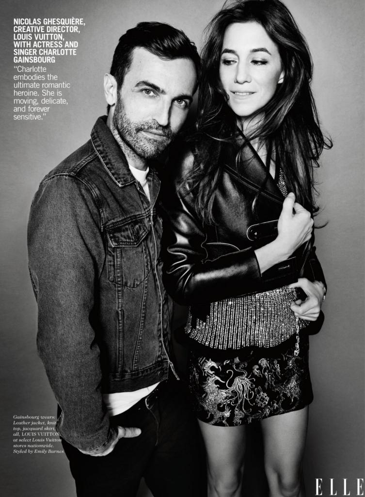 Никола Гескјер, креативен директор на Луј Витон со актерката Шарлот Геинсбург -Шарлот е отелотворение на романтична хероина. Таа е полетна, нежна и засекогаш чувствителна, каков што е и Elle look.