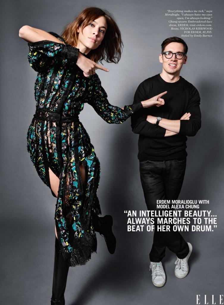 """Ердем Моралиоглу со моделот Алекса Чанг -Алекса Чанг ја поседува онаа убавина на интелигенцијата... Секогаш е обележана и се движи во ритамот што таа го одредува. Љубопитен сум, сè ме """"скокотка"""". Секогаш ги држам очите отворени и секогаш гледам, истражувам, како и Elle look."""