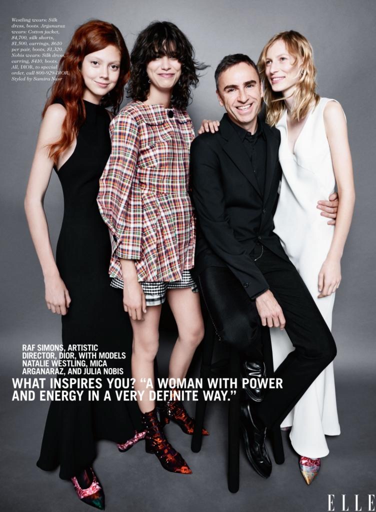 Раф Симонс, уметнички директор на Диор со моделите Натали Вестлинг, Мика Арганараз и Џулија Нобис -Ме инспирираат жени со моќ и енергија! Токму такви се и овие три дами