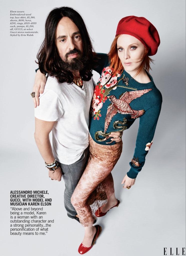 Алесандро Мичеле, креативен директор на Гучи, со моделот Карен Елсон -Покрај тоа што е модел, Карен е жена со неверојатен карактер и силна личност и е вистинска персонификација за тоа што е за мене убавина.