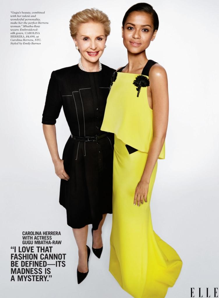 """Каролина Херера со актерката Гугу Мбата – Рау -Ми се допаѓа тоа што модата не може да биде дефинирана. Нејзината """"лудост"""" е мистерија сама по себе. А убавината на Гугу, во комбинација со нејзиниот талент и прекрасната личност ја прават совршена Херера жена."""