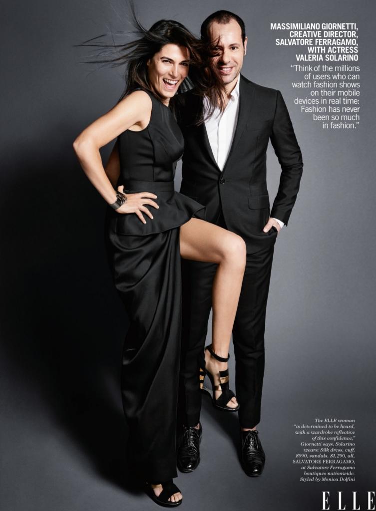Масимилијано Џорнети, креативен директор на Салваторе Ферагамо со актерката Валерија Соларино -Помислете на милионите гледачи што можат да ја гледаат ревијата на нивните мобилни телефони во реално време. Модата никогаш не била во мода како сега. Како и Elle Look.