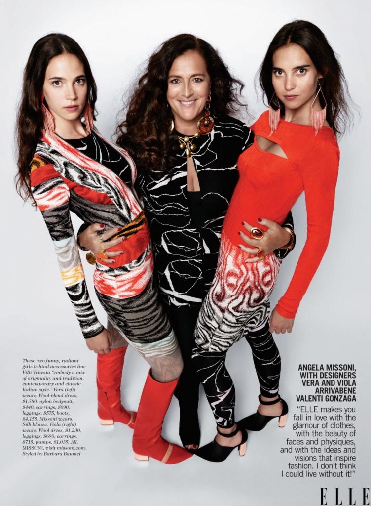 Анџела Мисони со дизајнерите Вера и Виола Валенти Гонзага Elle прави да се вљубите во гламурот на облеката, со убавината на лицата и телата и во идеите и визиите кои ја инспирираат модата. Мислам дека не би можела да живеам без него, како и без овие две забавни жени, кои стојат зад линијата аксесоари ViBi Venezia. Тие внесуваат микс на оригиналност и традиција, микс на современиот и класичен италијански стил.