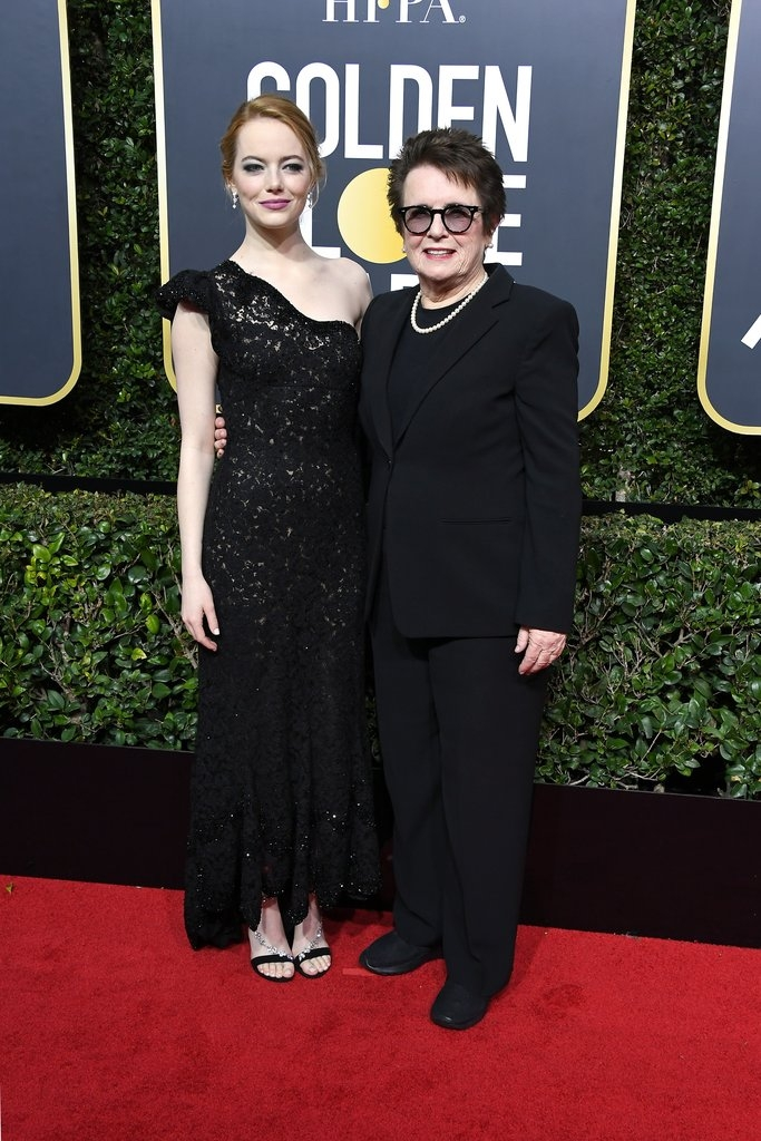 Emma Stone (Louis Vuitton) with Bilie Jean King