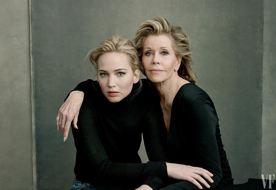 Џејн Фонда (со Џенифер Лоренс) - 47 филма (2015 - Youth), 2 оскара, 2 Бафта, 1 Еми