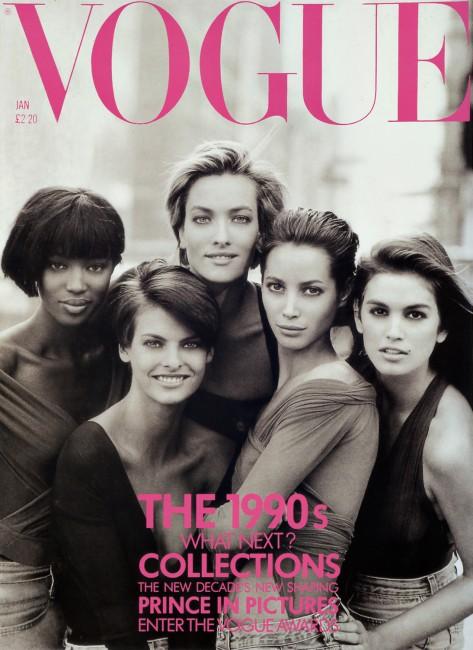 Легендарната насловна страница на британски Vogue со Наоми, Линда, Татјана, Кристи и Синди