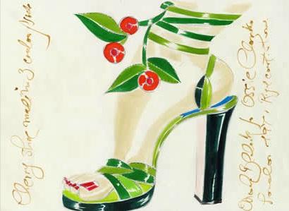 Дизајн на Маноло Бланик за ревијата на британскиот креатор Оси Кларк