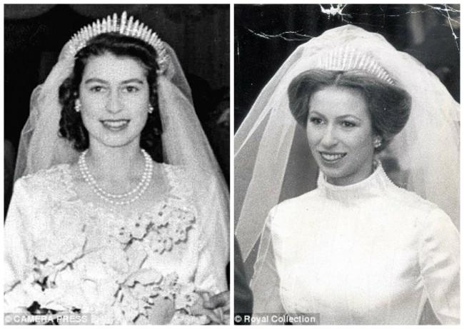 Како нешто позајмено, Елизабета ја носеше дијадемата од мајка и, на нејзината свадба со Принцот Филип во 1947 година. Принцезата Ана ја позајми истата дијадема за нејзината свадба со Капетанот Марк Филипс во 1973 г.(десно)