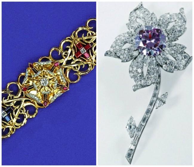 Десно: цветен брош од 23.6 каратен розов дијамант. Оригиналниот камен е од Африка и е свадбен подарок на кралицата од канадски геолог, а вментнат од Картиер во оваа форма во 1952; Лево: Подарок за 5 годишнината од бракот од нејзиниот сопруг. Алката е од дијамант, рубин и сафир
