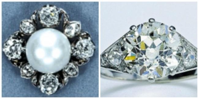 Лево: Обетки со бисер и дијамант, подарок од нејзината баба за 21.роденден, кои Елизабета ги носеше на нејзината свадба во 1947 година. Десно: Свршувачкиот прстен од Принц Филип од дијамант и платинум. Всушност прстенот е направен од камењата од дијадемата што припаѓала на неговата мајка, Принцезата Алиса од Грција