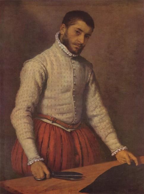 Ренесансен кројач - слика од Џовани Батиста Морни - Впечатлива е јакната, благо нагласените раменици, крената крагна, со пресвлечени копчиња по целата должина, а се наѕира и околувратникот