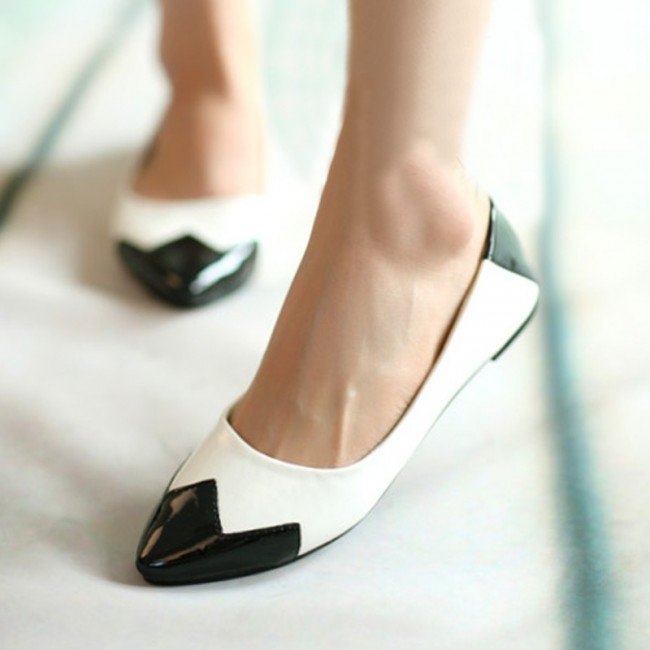 2013-New-Classic-White-Black-Color-Blocking-Women-s-Ladies-Flat-Shoes-Slip-On-Loafers-Pointed