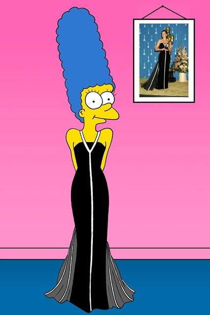 Марџ во винтиџ фустанот на Валентино, кој го носеше Џулија Роберт, кога го освои Оскарот за најдобра актерка во 2000-та година