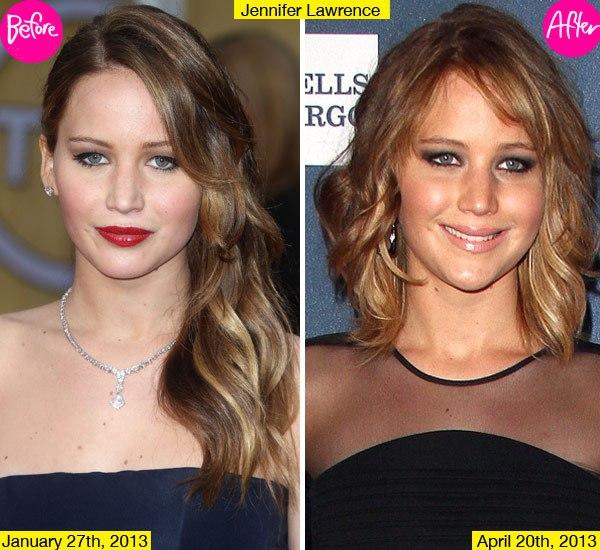 Џенифер Лоренс најпрвин се одлучи на средна должина на косата, за потоа да се ишиша уште повеќе