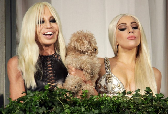 Lady Gaga is seen togther with fashion designer Donatella Versace on the balcony of the Palazzo Versace in Milan.