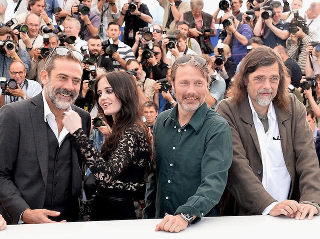 """Дневен прес на филмот """"The Salvation"""" Хавиер Бардем, Ева Грин и Џефри Дин Морган и Мадс Микелсон."""