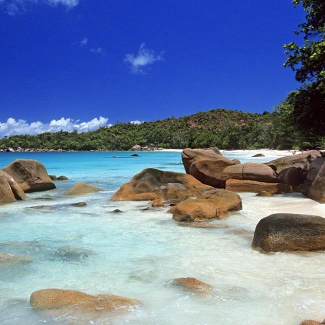 плажата Anse, на островот Праслин  на Сејшелите