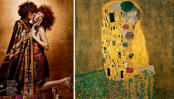 Популарната слика на Кис Густав Климт како инспирација за насловната на Harper's Bazaar во 2002 година