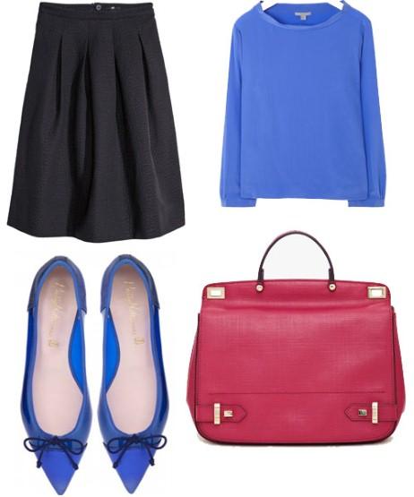 Доколку сакате да играте со боите, тогаш црното здолниште со висок струк комбинирајте го со удобна, широка блуза во сина боја и балетанки во истата нијанса.