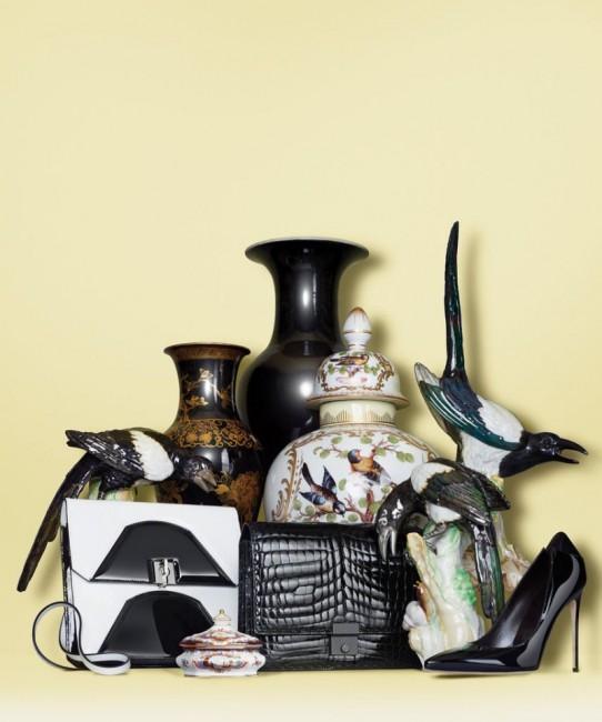 чанта на Емпорио Армани, чанта Ботега Венета и чевли Брајан Атвуд