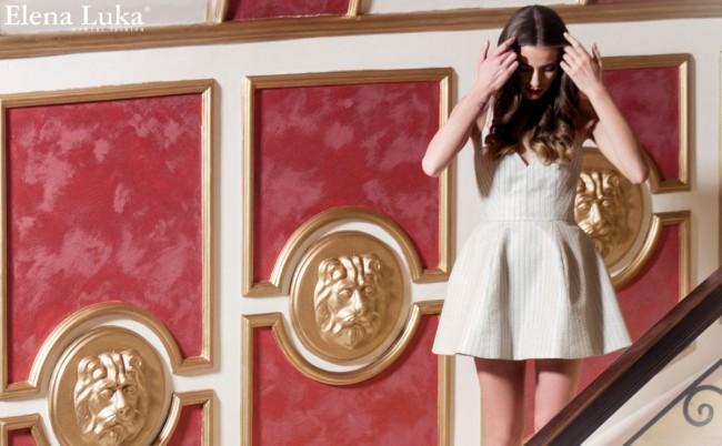 Краток шик фустан, изработен од срмена, минималистичка чипка...