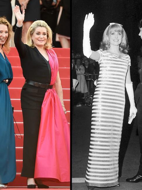 Катрин Денев - Отворање на Кански фестивал - 2015 гоина (лево) - 1966 година (десно)